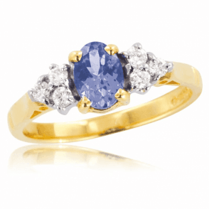 Ladies Shipton and Co Exclusive 9ct Yellow Gold Diamond and Tanzanite Ring RYX078TZ