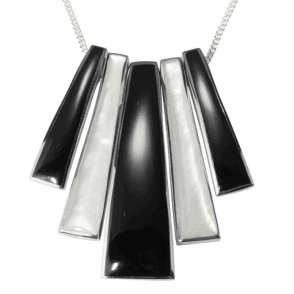 "Ladies Shipton and Co  Silver Onyx and Mother of Pearl Graduated Bars Pendant including a 16"" Silver Chain  TKW170ONPM"