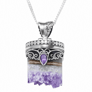 Earth's Core Pendant of Amethyst Geode & Crystal