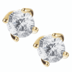 Ladies Shipton and Co 9ct Yellow Gold and 5mm Cubic Zirconia Curved Claw Stud Earrings TEM022CZ