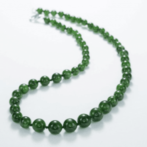 "Green Diopside 6-9mm Graduated Beads 17"" SilTrig."