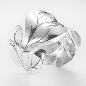 Artisan Acanthus Cuff of Highly Polished Silver