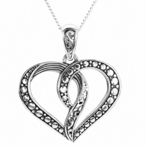 Silver Entwined Heart Pendant