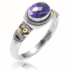 Empire Style Amethyst Ring with Gold Collets