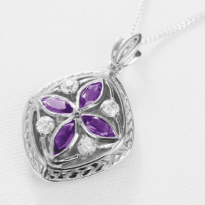 Pomander Locket with Amethyst & White Topaz
