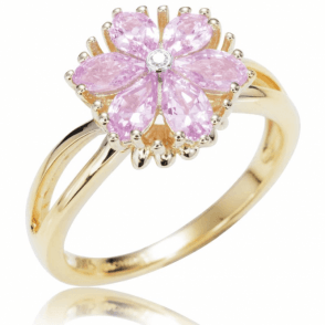 Ladies Shipton and Co Exclusive 9ct Yellow Gold and Pink Sapphire Ring RYD123PSD
