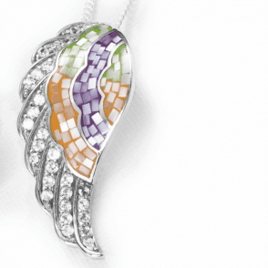 Flamboyant Wings in Rainbow Mother of Pearl & White Topaz