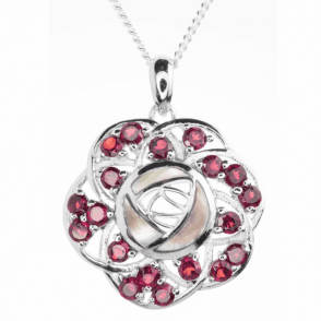 2.5ct Garnet & Mother of Pearl Re-invent the Mackintosh Rose