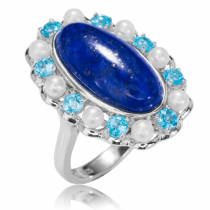 Ladies Shipton and Co Silver and Lapis Lazuli Ring RQA446LLMU