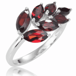 Leaf Ring of Marquise Garnets