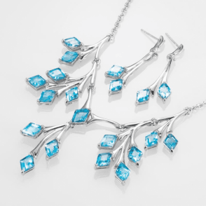 Inventive Geometry Displays over 20cts of Blue Topaz - Earrings