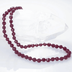 Ladies Shipton and Co Silver and 6mm Faceted Garnet Beads 18 Inches Long plus 2 Inch Extender Chain BFE014GR