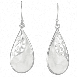 Mother of Pearl & Silver Swirl Earrings