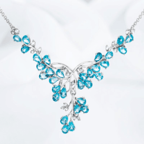 Ladies Shipton and Co Exclusive Silver and Blue Topaz Necklace NQA473BTWT