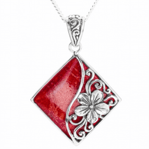 Ladies Shipton and Co Silver and Coral Pendant including a 16 Silver Chain TSS201CL