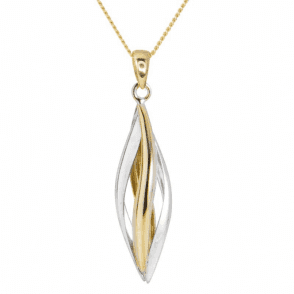 Domed Wave Designs of Two Tone 9ct Gold - Pendant