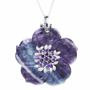Ladies Shipton and Co Exclusive Silver and Flourite Pendant including a 16 Silver Chain PQA494FLAM