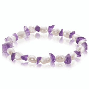 Ladies Shipton and Co Exclusive Silver Amethyst and Pearl Strech Bracelet BSS040AMP