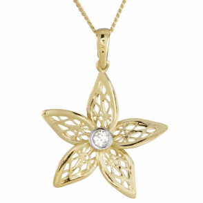 Ladies Shipton and Co 9ct Yellow Gold and Cubic Zirconia Centre Filigree Flower Pendant including a 16 9ct Chain TEM041CZ