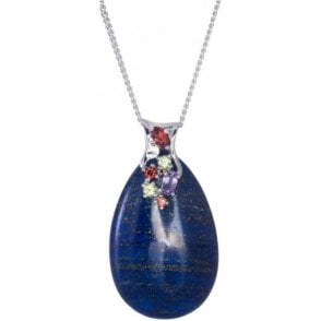 Ladies Shipton and Co Silver and Lapis Lazuli Pendant including a 22 Silver Chain TTL262LLMU