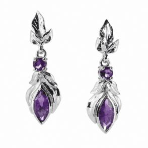 Leafy Dream Design set with 18.65cts of Faceted Amethyst Earrings