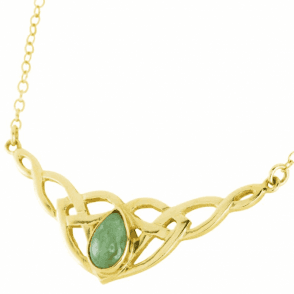 Ladies Shipton and Co 9ct Yellow Gold and Pear Shaped Green Jade Necklace NY1877GJ
