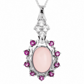 5ct Pink Opal Pendant framed by Garnets & White Topaz