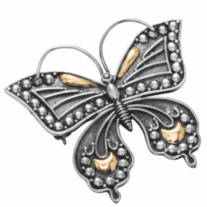 Silver + Gold Butterfly Brooch