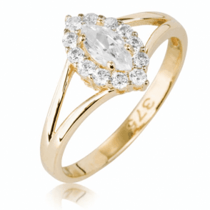 Ladies Shipton and Co 9ct Yellow Gold and Marquise Cluster Cubic Zirconia Ring TEM060CZ