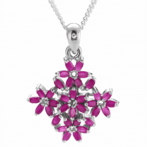 Ladies Shipton and Co Silver and 6.5ct Ruby Flower Pendant including a 16 Silver Chain TFE140RU
