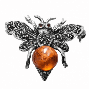 Marcasite & Amber Honey Bee Brooch