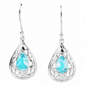 Ladies Shipton and Co Silver and Blue Topaz Earrings TSV017BT