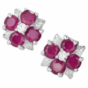 Ladies Shipton and Co Silver and 2.75ct Prestigious Ruby Earrings TMZ006RUWS