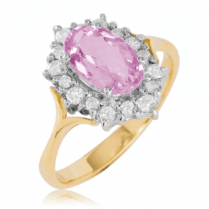 1.45cts of Rare Pink Topaz with 16 Diamonds