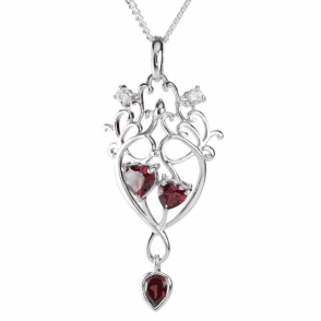 Ladies Shipton and Co Exclusive Silver and Garnet Drop Pendant including a 16 Silver Chain PQA558GRWT