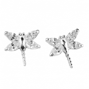 Ladies Shipton and Co Silver and Cubic Zirconia Dragonfly Earrings TFE181CZ