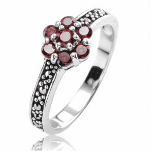 Ladies Shipton and Co Silver and Garnet Ring TSV043GRMM