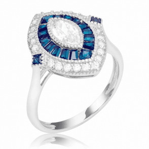 2cts of Created Blue Sapphire in Statement Cluster Ring