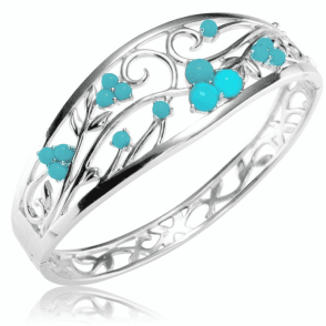 2½cts of Turquoise in a Silver Filigree Bracelet