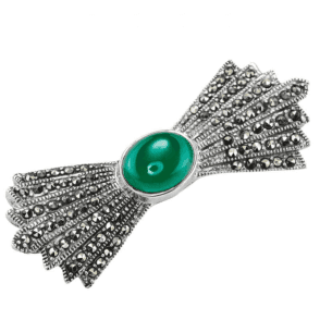 Art Deco Fan Brooch Centred with Green Agate