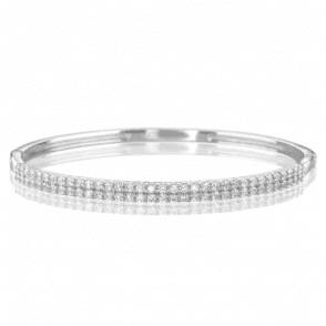 Silver Bangle with Double Rows of Sparkle