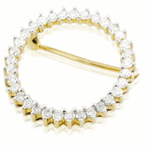 Classical Understated 1ct Diamond and 9ct Gold Circle Brooch