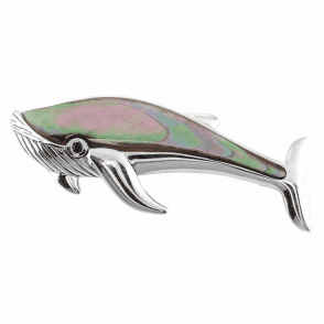 Large Whale Brooch in Sea-Shaded Mother of Pearl with Black Spinel