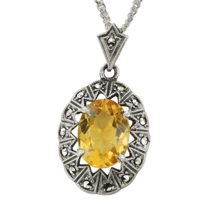 "Citrine Pendant on a 16"" curb chain."