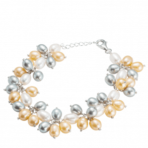 Ladies Shipton and Co White Graey and Champagne Freshwater Pearls Bracelet TFE041FP