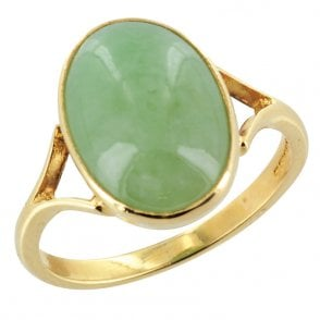 Ring 9ct 0878 Green Burma Jade