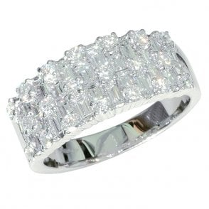 Ladies Shipton and Co 18ct White Gold 2ct Round and Bagette Weave Diamond Ring TFL505DI