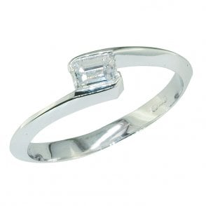 Ladies Shipton and Co Exclusive 18ct White Gold Quarter Carat Baguette Cut Square Twist Diamond Ring TJS003DI