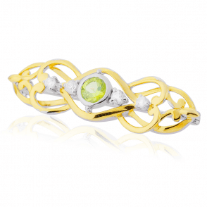Celtic Brooch with Peridot, White Topaz & 18ct Gold