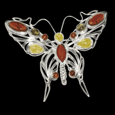 Ladies Shipton and Co Silver and Amber Brooch TPT059AB